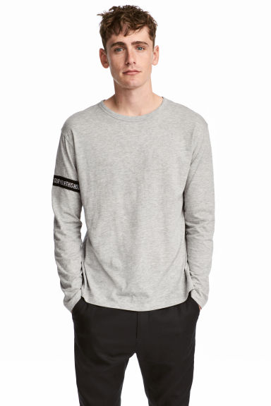 Printed long-sleeved T-shirt - Grey marl - Men | H&M CN 1