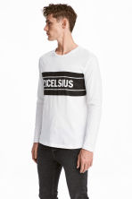 Printed long-sleeved T-shirt - White -  | H&M 1