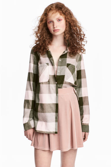 Flannel shirt - Powder pink/Checked - Ladies | H&M CN 1