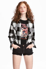 Flannel shirt - Black/Checked - Ladies | H&M 1