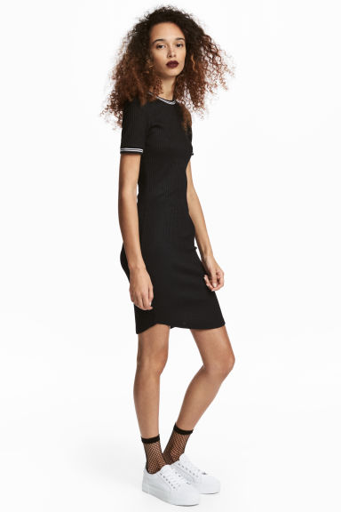 Abito a costine - Nero - DONNA | H&M IT 1
