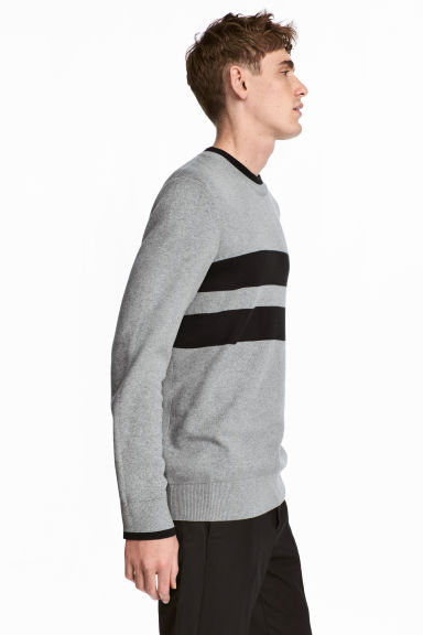 Knitted jumper - Grey marl/Black - Men | H&M