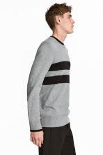 Knitted jumper - Grey marl/Black - Men | H&M CA 1