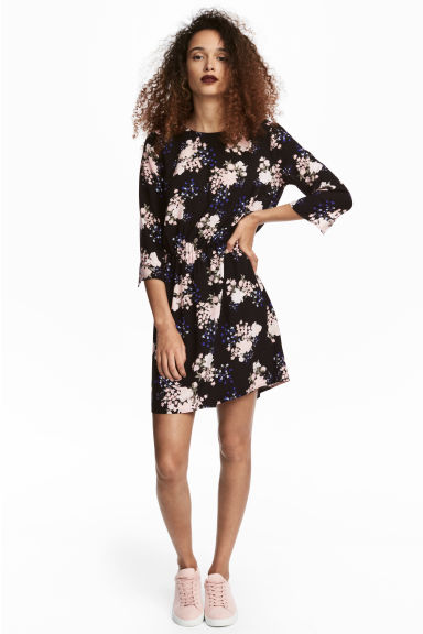 Short dress - Black/Floral - Ladies | H&M 1