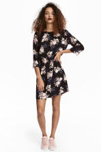 Short dress - Black/Floral - Ladies | H&M CN 1