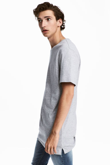 T-shirt long - Gris chiné - HOMME | H&M FR