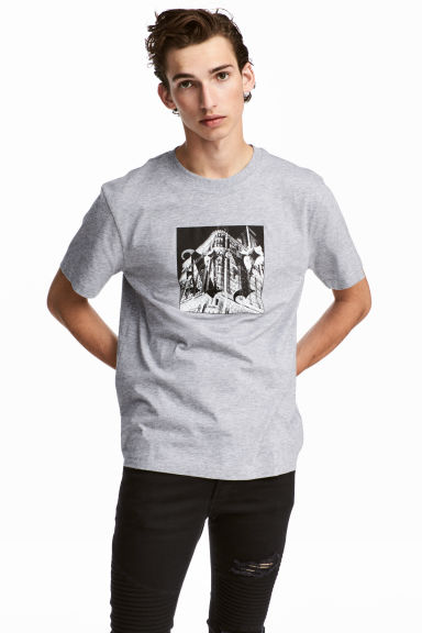 T-shirt met print - Grijs gemêleerd/New York - HEREN | H&M BE 1