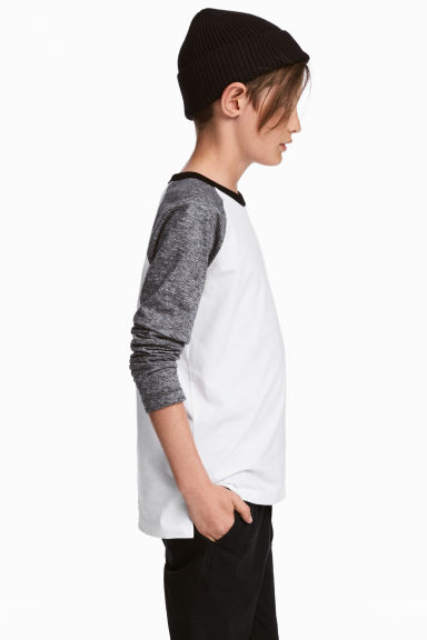 Long-sleeved T-shirt - Black/White marl - Kids | H&M