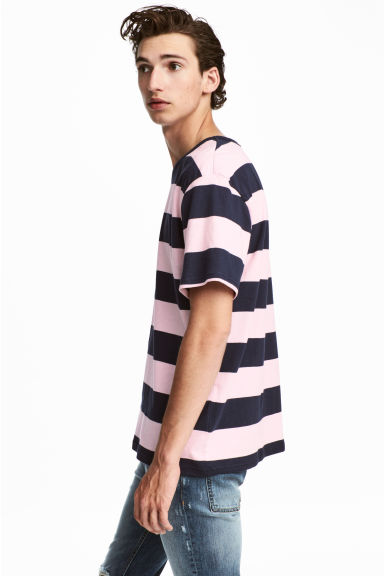 Striped T-shirt - Dark blue/White striped - Men | H&M CN
