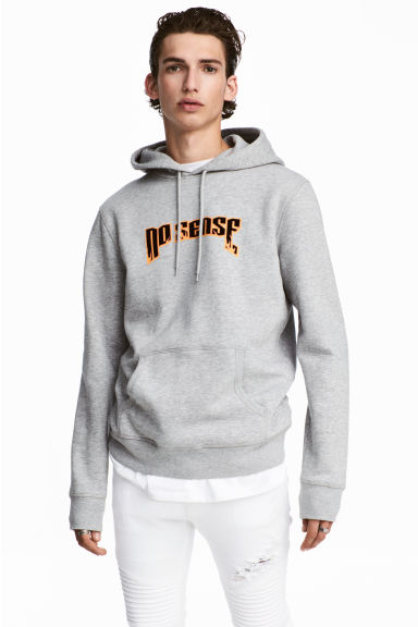 Hooded top with a print motif - Grey marl - Men | H&M CA 1