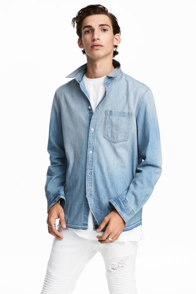 水洗丹寧襯衫 - Light denim blue - Men | H&M 1