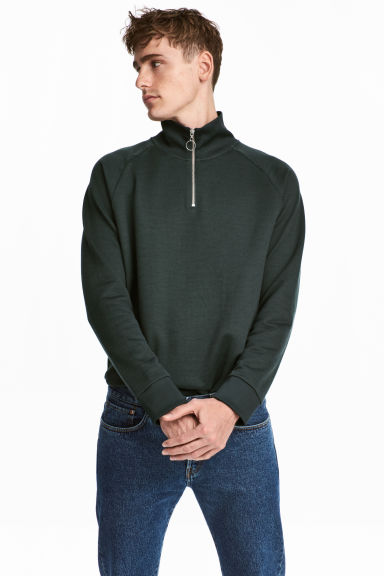 Top with stand-up collar - Dark green - Men | H&M CA