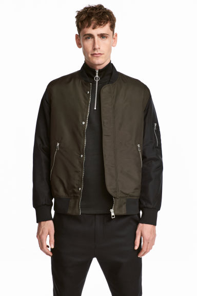 Nylon bomber jacket - Dark Khaki - Men | H&M CN 1