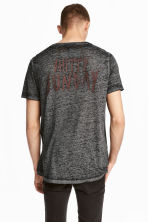 Burnout-patterned T-shirt - Dark grey marl - Men | H&M CN 1
