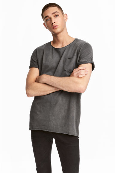 Long T-shirt - Dark grey - Men | H&M 1