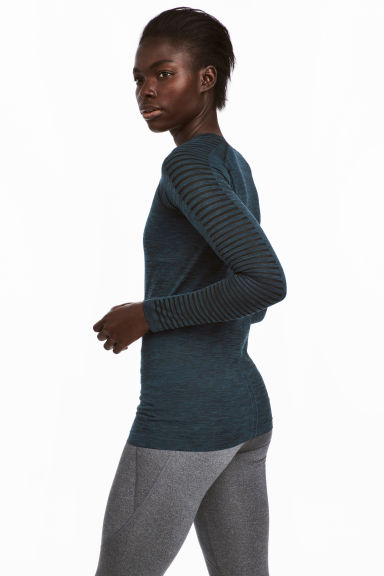 Seamless sports top - Petrol marl - Ladies | H&M 1