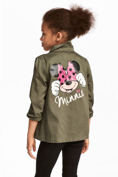 Cotton twill cargo jacket - Khaki green/Minnie Mouse - Kids | H&M CA