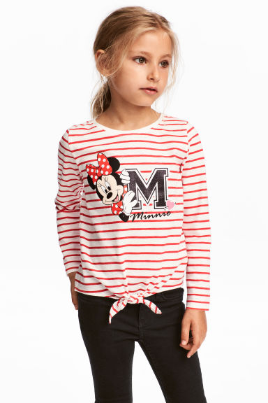 Long-sleeved Tie-hem Top - Red/Minnie Mouse - Kids | H&M CA 1