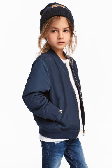 Padded bomber jacket - Dark blue -  | H&M CN 1