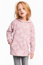 Patterned hooded top - Light pink/Butterflies - Kids | H&M CN 1