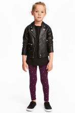 Jersey leggings - Plum/Hearts - Kids | H&M 1