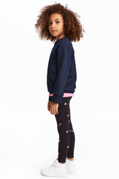 Jersey leggings - Dark blue/Hearts - Kids | H&M