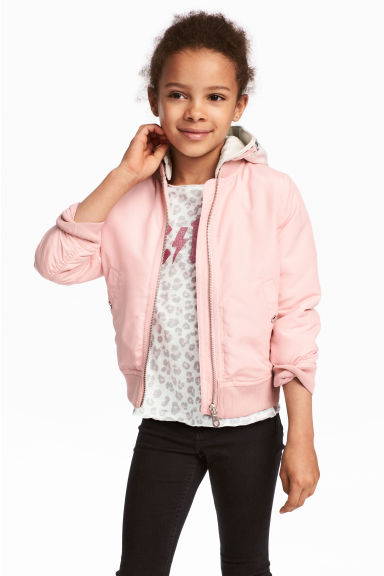 Hooded bomber jacket - Light pink - Kids | H&M 1