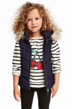 Padded gilet - Dark blue -  | H&M 1