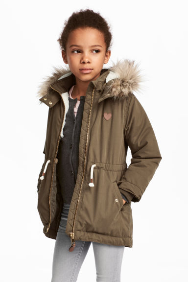 鋪棉軍外套 - Khaki green - Kids | H&M