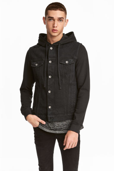 Hooded denim jacket - Black - Men | H&M CN 1
