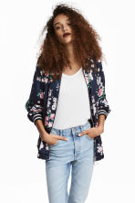Satin bomber jacket - Dark blue/Floral - Ladies | H&M CN 1