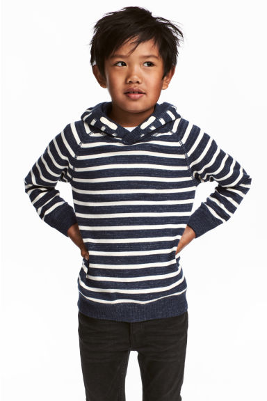 Knitted hooded jumper - Dark blue/Striped - Kids | H&M CN