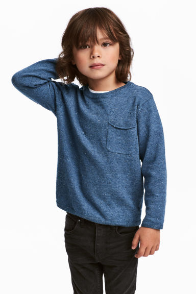 Fine-knit cotton jumper - Blue marl -  | H&M 1