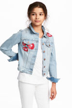 Embroidered Denim Jacket - Light denim blue/roses - Kids | H&M CA 1