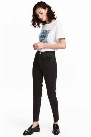 Vintage High Ankle Jeans - Black denim - Ladies | H&M