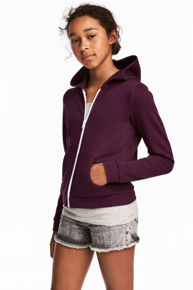 Sweat à capuche zippé - Prune - ENFANT | H&M FR