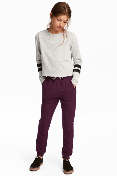 Joggers with a foldover waist - Plum - Kids | H&M 1