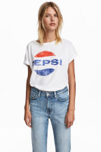 Printed jersey top - White/Pepsi - Ladies | H&M 1