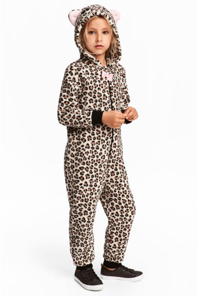 Fleece all-in-one suit - Leopard print - Kids | H&M 1