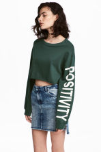 Cropped sweatshirt - Dark green - Ladies | H&M CA 1