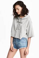 Sweat à capuche court - Gris chiné -  | H&M CH 1
