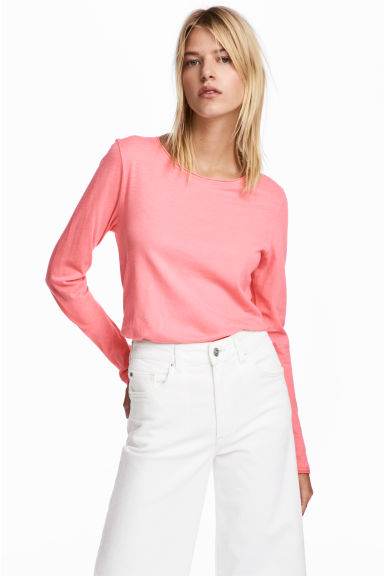 Long-sleeved top - Neon pink - Ladies | H&M