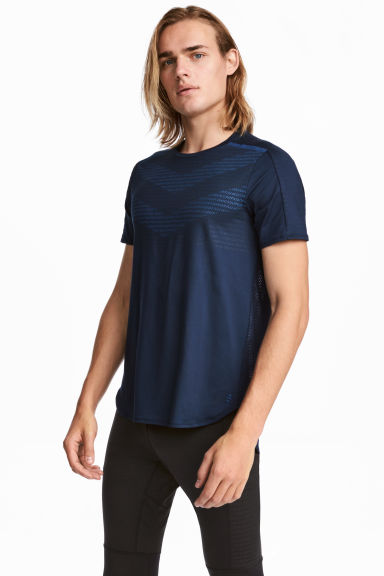 Short-sleeved running top - Dark blue - Men | H&M