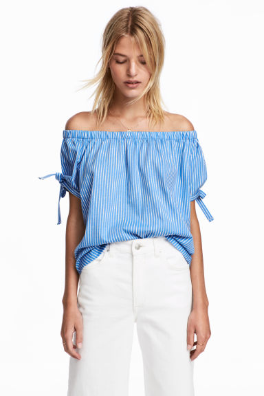 Off-the-shoulder top - Light blue/White striped - Ladies | H&M IE