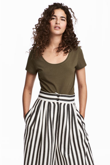 Jersey Top - Khaki green - Ladies | H&M CA 1