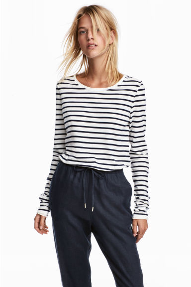 Top met lange mouwen - Wit/gestreept - DAMES | H&M BE