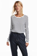 Long-sleeved top - White/Striped - Ladies | H&M 1