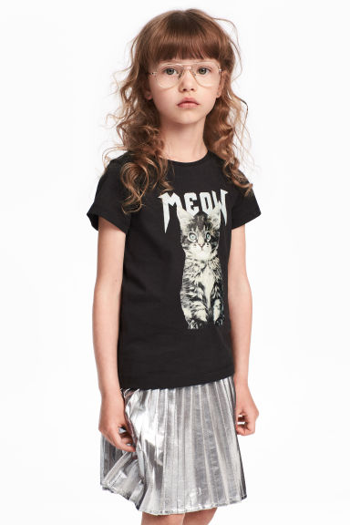 Printed jersey top - Black/Cat - Kids | H&M CN 1