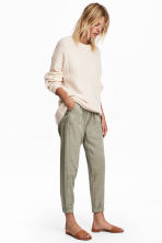 Pull-on lyocell trousers - Light khaki green - Ladies | H&M CN 1