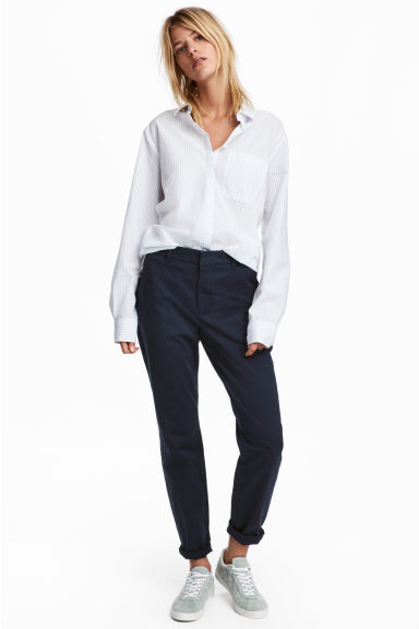 Cotton chinos - Dark blue - Ladies | H&M 1